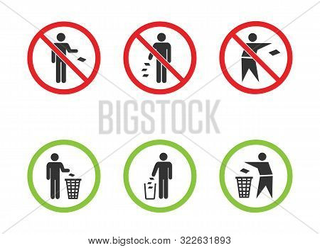 Do Not Litter Vector Signs Set, Keep Clean Icons