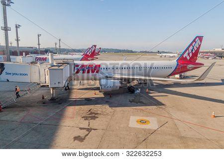 Sao Paulo, Brazil - October 9, 2016: Airplanes At Sao Paulo Guarulhos International Airport, Brazil