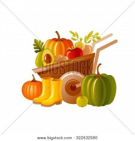 Farm Wheelbarrow With Harvest. Fruit, Vegetable, Rubber Boots. Autumn Fall Pumpkin Icon For Harvest