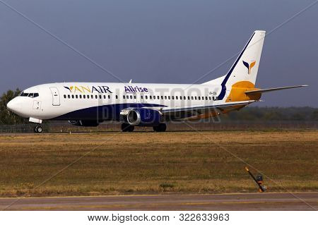 Borispol, Ukraine - September 10, 2019: Ur-coi Yanair Boeing 737-400 Aircraft Landing On The Runway