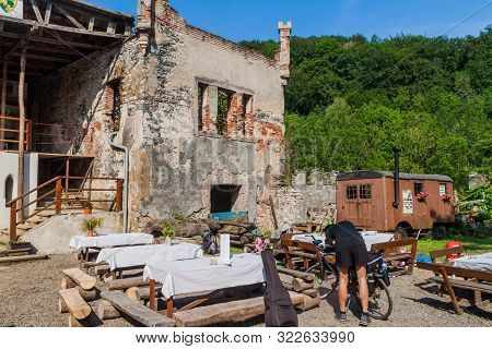 Horni Hrad, Czech Republic - June 4, 2016: Ruins Of Horni Hrad Hauenstein Or Hauenstejn Castle In Th