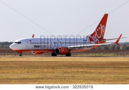 Borispol, Ukraine - September 10, 2019: Ur-sqh Skyup Airlines Boeing 737-800 Aircraft Running On The