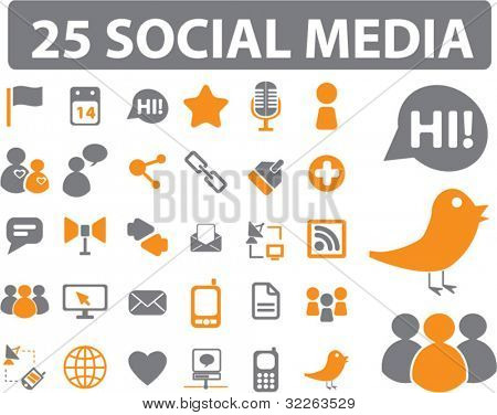 25 social media iconen, tekenen, vector