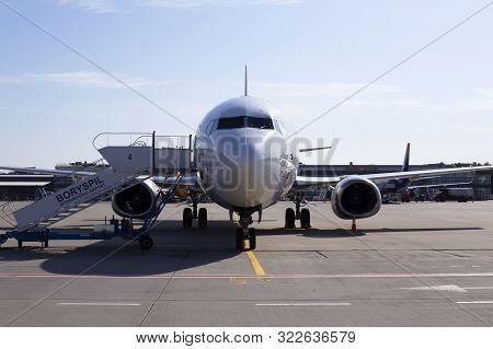 Borispol, Ukraine - September 10, 2019: Lz-cgt Cargo Air Boeing 737-400f Aircraft On The Parking Are