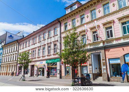 Ceske Budejovice, Czech Republic - June 14, 2016: Buildings At Lannova Street In Ceske Budejovice.