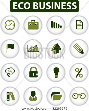 eco business buttons, icons, signs, vector illustration