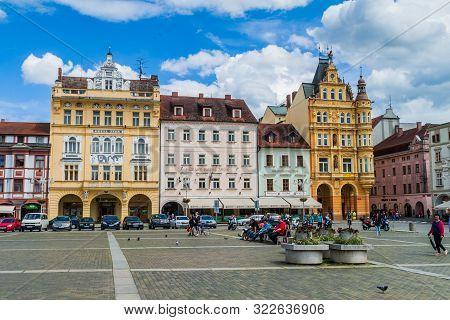 Ceske Budejovice, Czech Republic - June 14, 2016: Buildings At Premysl Otakar Ii. Square In Ceske Bu