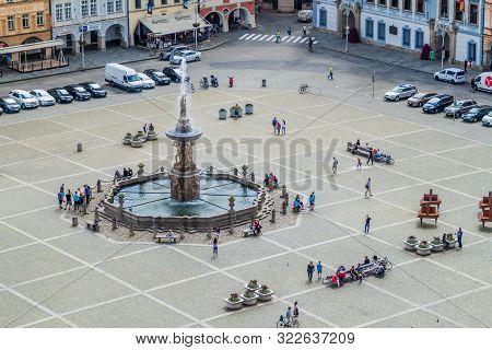Ceske Budejovice, Czech Republic - June 14, 2016: Aerial View Of Premysl Otakar Ii. Square In Ceske