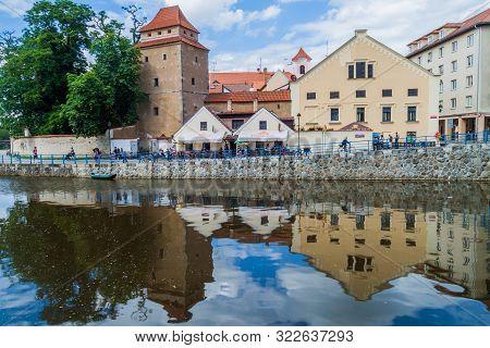 Ceske Budejovice, Czech Republic - June 14, 2016: Riverside Buildings In Ceske Budejovice.
