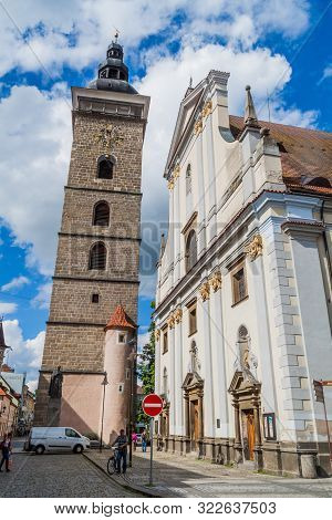 Ceske Budejovice, Czech Republic - June 14, 2016: Black Tower Cerna Vez And St. Nicholas Svaty Mikul