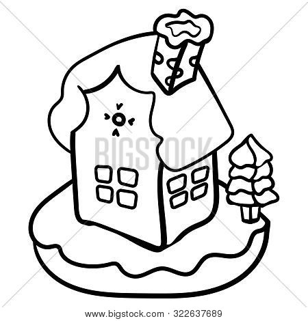 Christmas Gingerbread House Coloring Page Or Book. Vector Gingerbread House. Christmas Cookies And C