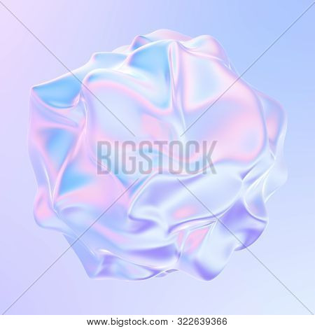 Liquid Metal Shape. Abstract Holographic 3d Design Element. 3d Rendering.