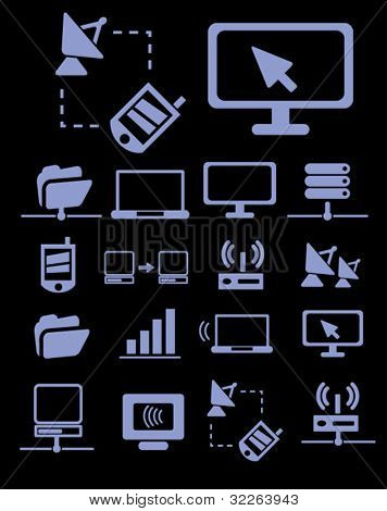 communication & network icons, signs, vector illustrations