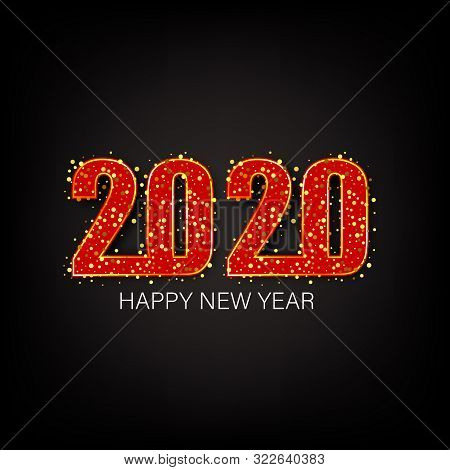 Happy New Year 2020, Gold Shiny Glitter Glowing Numbers Design Of Greeting Card, Falling Shiny Confe