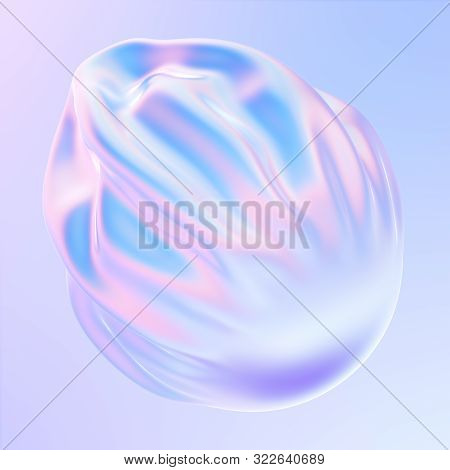 Abstract Gradient Fluid 3d Shape. Pastel And Holographic Colors. Falling Fabric With Pleats. 3d Illu