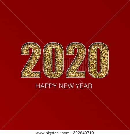 Gold Shiny Glitter Glowing Numbers 2020 , Design Of Greeting Card, Falling Shiny Confetti, Vector Il