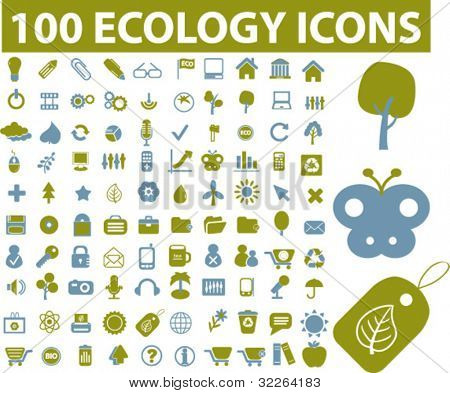 100 ecology & nature icons, signs, vector illustrations