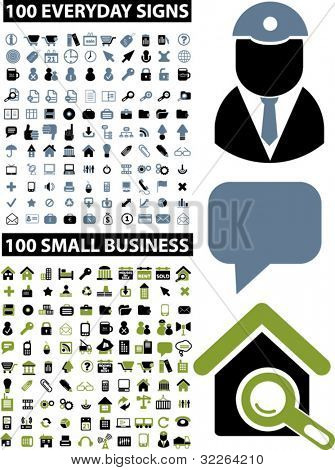 200 business & everyday icons, signs, vector illustrations