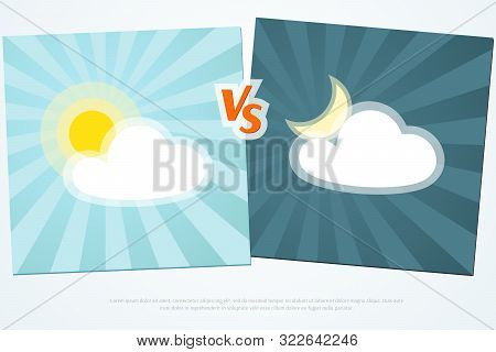 Versus Vs Background Day Vs Night On A Blue Background Of Lines Rays Creative Template Icon Sun And