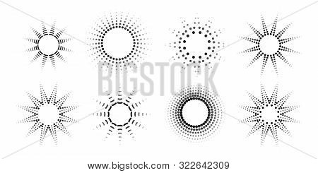 Round Radial Halftone Dots Graphic Circle Pattern Of Black Dots Spots Rays On A White Background Set