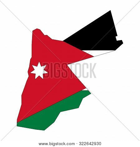 Jordan Map With Flag Vector Or Jordanian Flag Map - Sticker,banner,backgrounds,poster,label Etc.