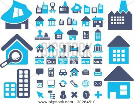 european houses, buildings, icons, signs, vector illustrations