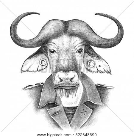 Hand drawn dressed up anthropomorphic buffalo hipster. Illustration in retro style