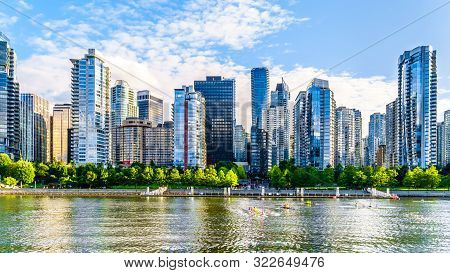 Vancouver, British Columbia/canada - July 11, 2019: High Rise Buildings Form The Downtown And Coal H