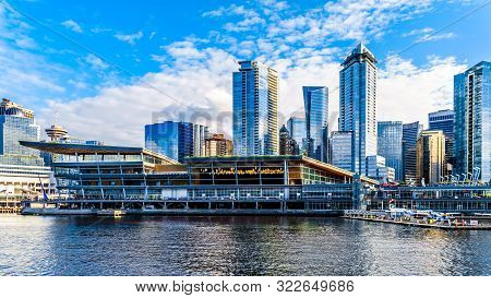 Vancouver, British Columbia/canada - July 11, 2019: Float Plane Terminal And High Rise Buildings For