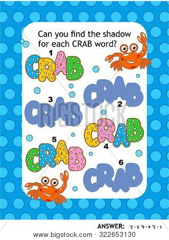 poster of Visual puzzle or picture riddle with CRAB words: Can you find the shadow for each CRAB word? Answer included.
