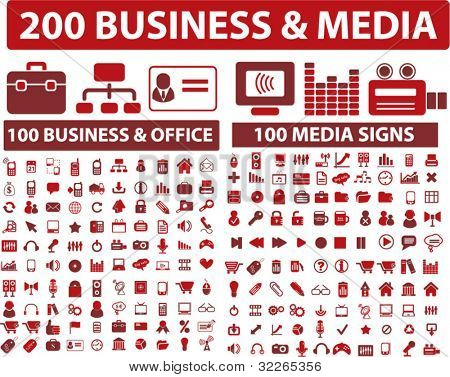 poster of 200 media & business icons, signs, vector illustrations set