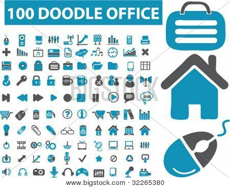 100 doodle office icons, signs, vector illustrations set
