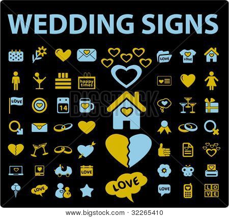 wedding icons, signs, vector illustration set