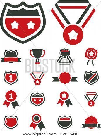 awards, labels, winner icons, signs, vector illustration set