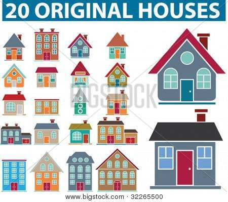 20 original houses icons, signs, vector set