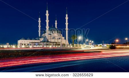 Hala Sultan Camii Mosque In Nicosia, North Cyprus At Night Time. Muslim Religion.