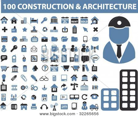 100 construction & architecture icons, signs, vector set, illustrations