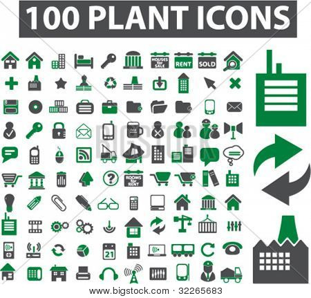 100 plant & factory icons set, signs, vector