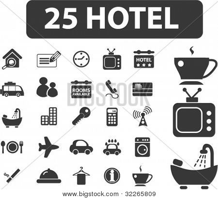25 hotel icons set, vector illustrations
