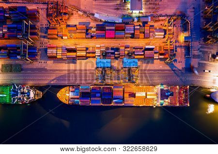 Containers Yard In Port Congestion With Ship Vessels Are Loading And Discharging Operations Of The T