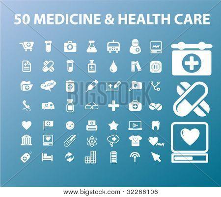 50 medicine & health care icons set, vectr