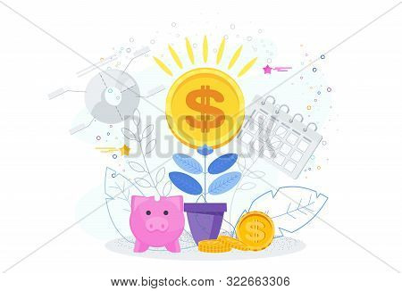 Financial Growth Business Concept. Dollars In A Flower Pot.