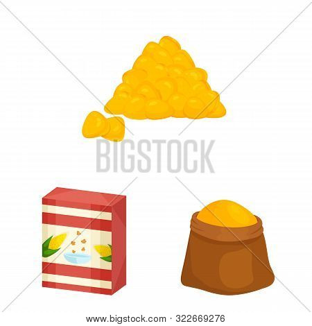 Isolated Object Of Maize And Food Sign. Collection Of Maize And Crop Stock Symbol For Web.