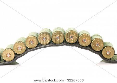 A cartridge belt with 12 gauge shots