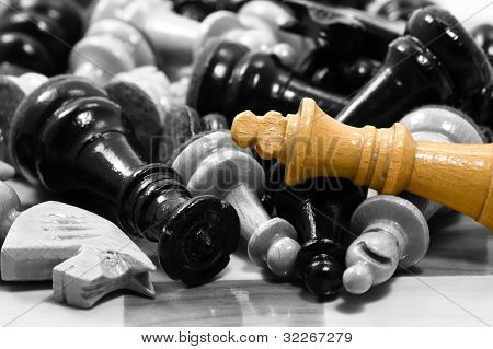 Chess pieces in black and white. King in color poster
