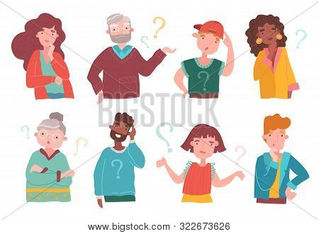 Set Of Eight Colorful Multiracial Cartoon People Deep In Thought, Some With Question Marks, Some Thi