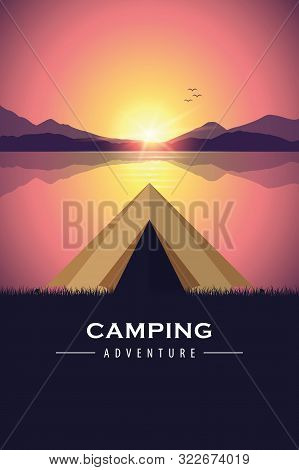 Camping Adventure Tent By The Lake With Purple Mountain Landscape Vector Illustration Eps10