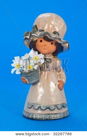 Little flower girl on blue background