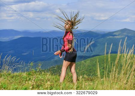 Vacation Ideas. Healthy Lifestyle. Sporty Tourist Hiker Trekking. Summer Tourism. Woman Trekking Clo