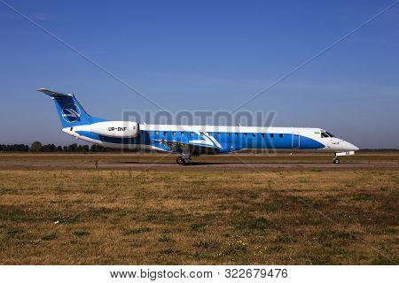 Borispol, Ukraine - September 10, 2019: Ur-dnf Wind Rose Aviation Embraer Erj-145 Aircraft Running O
